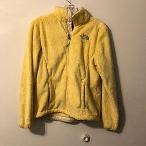 Yellow North Face Fuzzy Fleece Zip Up Jacket